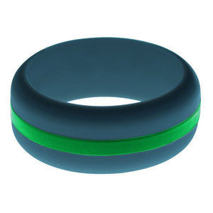 Mens Steel Blue Silicone Ring with Green Changeable Color Band