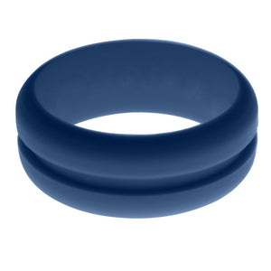 Mens Steel Blue Silicone Ring without Changeable Color Band