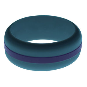 Mens Steel Blue Silicone Ring with Navy Blue Changeable Color Band