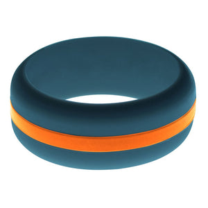 Mens Steel Blue Silicone Ring with Orange Changeable Color Band