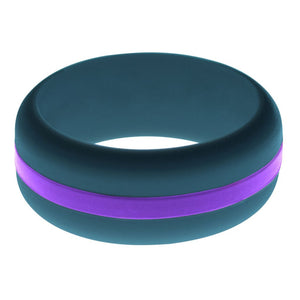 Mens Steel Blue Silicone Ring with Purple Changeable Color Band