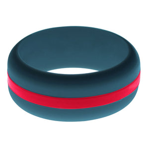 Mens Steel Blue Silicone Ring with Red Changeable Color Band