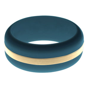 Mens Steel Blue Silicone Ring with Sand Changeable Color Band