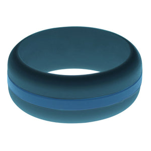 Mens Steel Blue Silicone Ring with Steel Blue Changeable Color Band