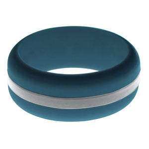 Mens Steel Blue Silicone Ring with Silver Changeable Color Band
