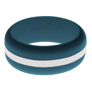 Mens Steel Blue Silicone Ring with White Changeable Color Band