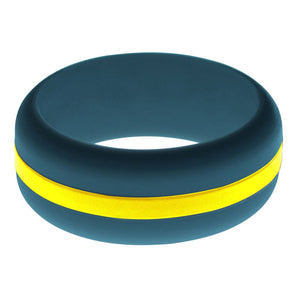 Mens Steel Blue Silicone Ring with Yellow Changeable Color Band