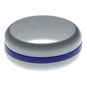 Mens Silver Silicone Ring with Blue Changeable Color Band