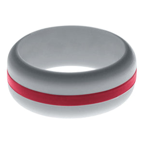Mens Silver Silicone Ring with Cardinal Red Changeable Color Band