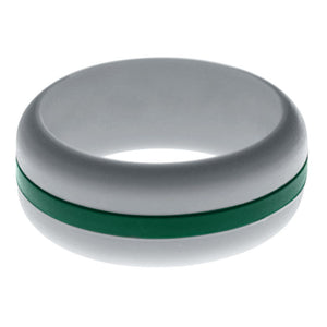 Mens Silver Silicone Ring with Dark Green Changeable Color Band