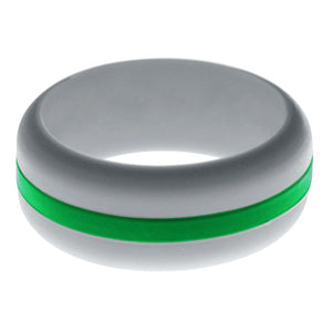 Mens Silver Silicone Ring with Green Changeable Color Band