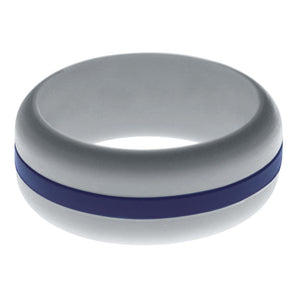 Mens Silver Silicone Ring with Navy Blue Changeable Color Band