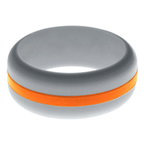 Mens Silver Silicone Ring with Orange Changeable Color Band