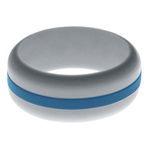 Mens Silver Silicone Ring with Steel Blue Changeable Color Band