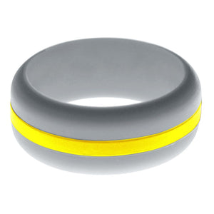 Mens Silver Silicone Ring with Yellow Changeable Color Band