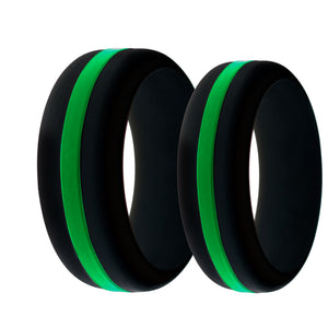 Mens and Womens Park Ranger and Border Patrol Black Silicone Ring with Thin Green Line Changeable Color Band