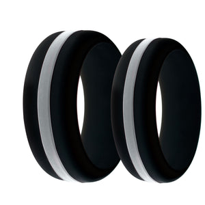 Mens and Womens Corrections Officer Black Silicone Ring with Thin Silver Line Changeable Color Band