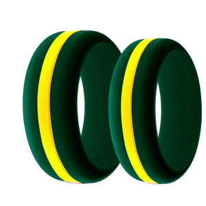 Mens and Womens Wildland Firefighter Silicone Ring Dark Green with Thin Yellow Line Changeable Color Band