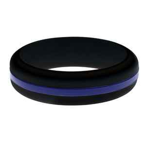 Womens Police Law Enforcement LOE Silicone Ring Black With Thin Blue Line Changeable Color Band