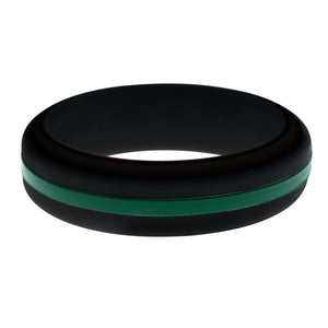 Womens Black Silicone Ring with Dark Green Changeable Color Band
