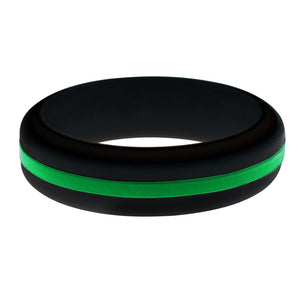 Womens Park Ranger and Border Patrol Black Silicone Ring with Thin Green Line Changeable Color Band
