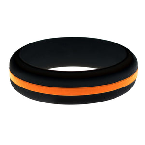 Search and Rescue EMS Womens Silicone Ring Black With Thin Orange Line Changeable Color Band