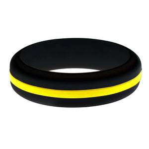 Womens Black Silicone Ring with Yellow Changeable Color Band