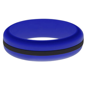 Womens Blue Silicone Ring with Black Changeable Color Band