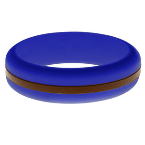 Womens Blue Silicone Ring with Brown Changeable Color Band