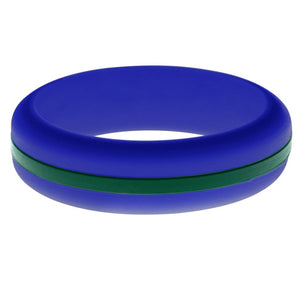 Womens Blue Silicone Ring with Dark Green Changeable Color Band