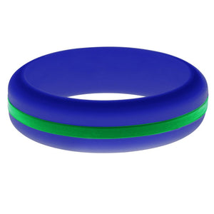 Womens Blue Silicone Ring with Green Changeable Color Band