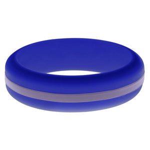 Womens Blue Silicone Ring with Medium Purple Changeable Color Band