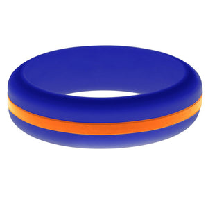 Womens Blue Silicone Ring with Orange Changeable Color Band