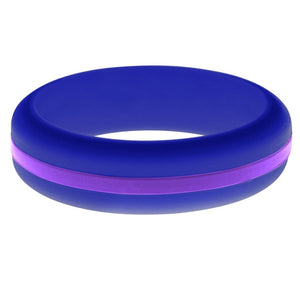 Womens Blue Silicone Ring with Purple Changeable Color Band
