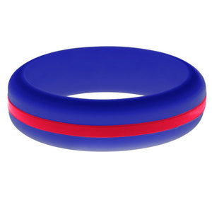 Womens Blue Silicone Ring with Red Changeable Color Band
