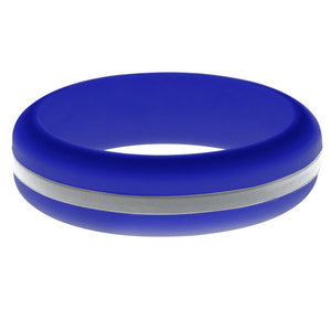 Womens Blue Silicone Ring with Silver Changeable Color Band