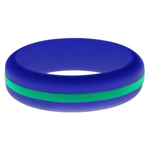 Womens Blue Silicone Ring with Teal Changeable Color Band
