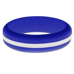 Womens Blue Silicone Ring with White Changeable Color Band