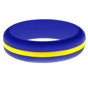 Womens Blue Silicone Ring with Yellow Changeable Color Band