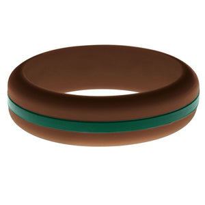 Womens Brown Silicone Ring with Dark Green Changeable Color Band