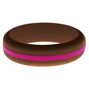 Womens Brown Silicone Ring with Dark Pink Changeable Color Band