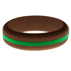 Womens Brown Silicone Ring with Green Changeable Color Band