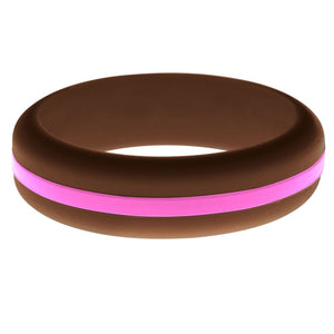 Womens Brown Silicone Ring with Hot Pink Changeable Color Band