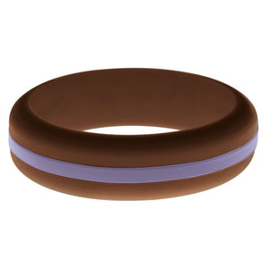 Womens Brown Silicone Ring with Medium Purple Changeable Color Band