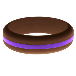 Womens Brown Silicone Ring with Purple Changeable Color Band