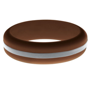 Womens Brown Silicone Ring with Silver Changeable Color Band
