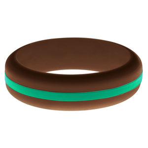 Womens Brown Silicone Ring with Teal Changeable Color Band