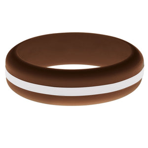 Womens Brown Silicone Ring with White Changeable Color Band