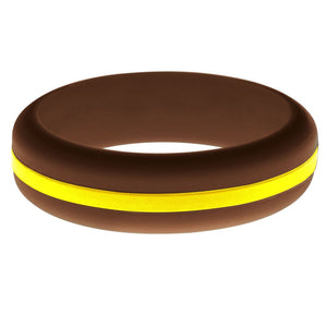 Womens Brown Silicone Ring with Yellow Changeable Color Band