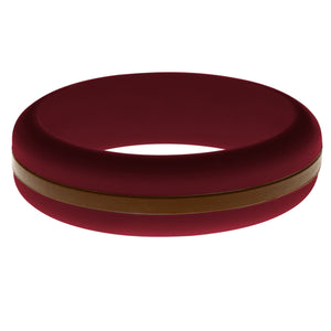Womens Cardinal Red Silicone Ring with Brown Changeable Color Band